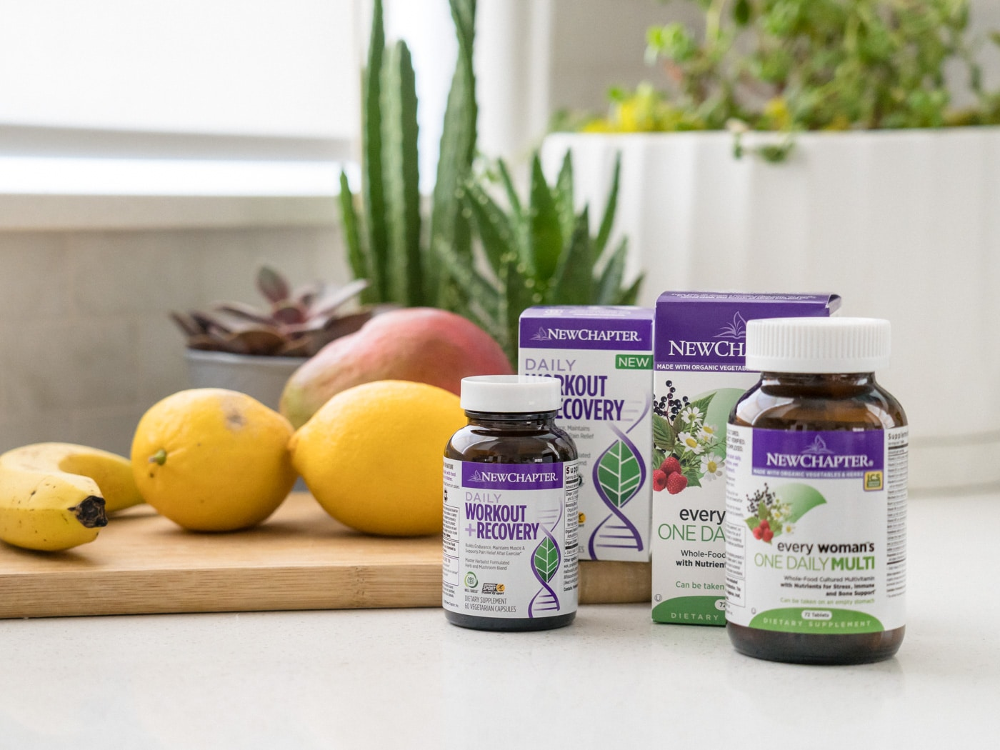 Morning routine with fruits and supplements